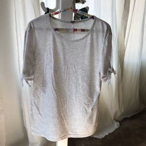 Soft T shirt with open sleeves and bow